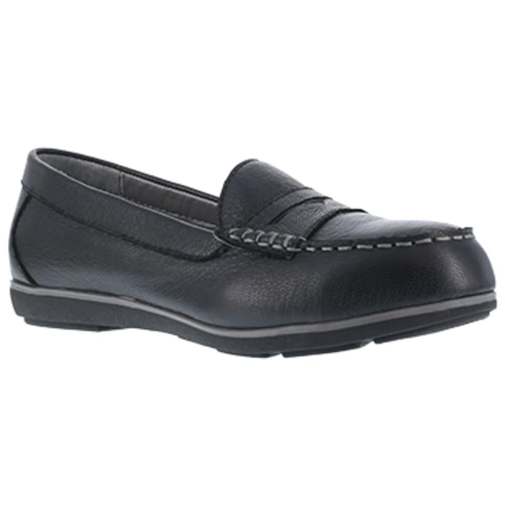 ROCKPORT WORKS Women's Top Shore Steel Toe Penny Loafer Shoe - BLACK