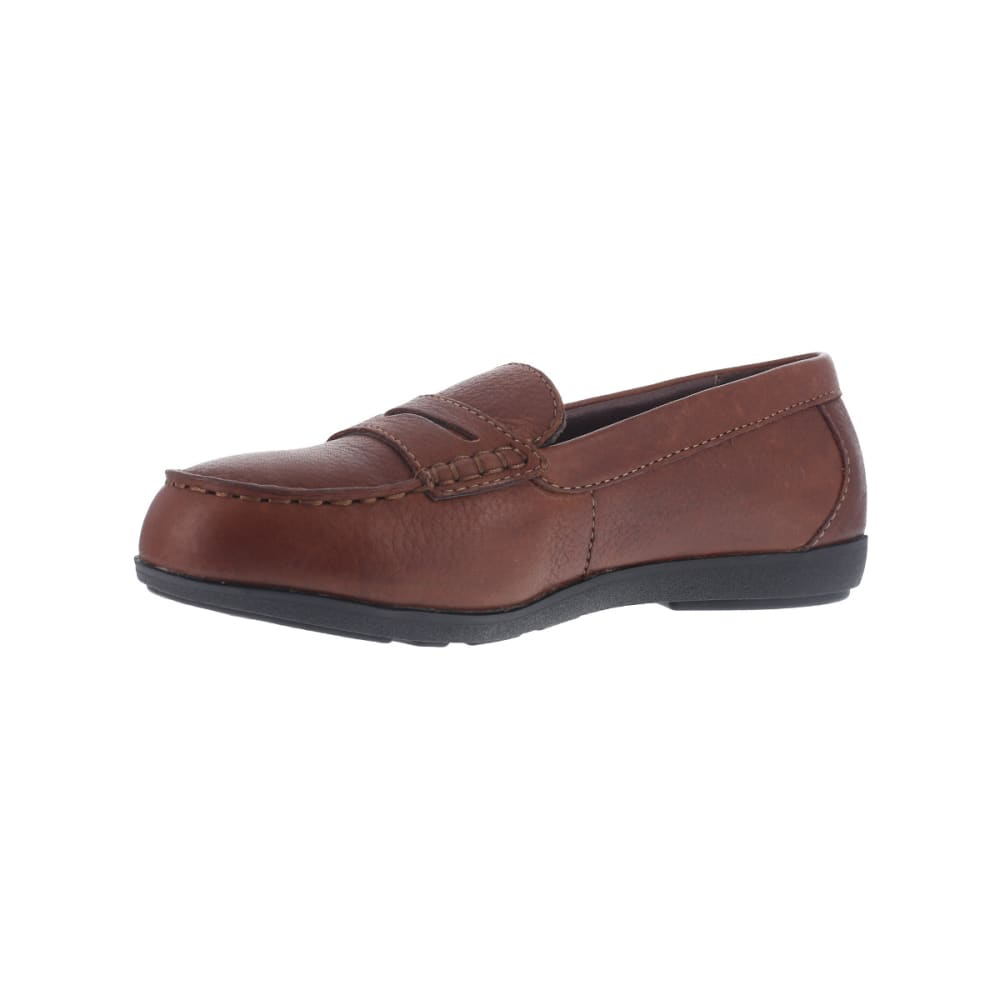 ROCKPORT WORKS Women's Top ShoreSteel Toe Penny Loafer Shoes, Brown - BROWN