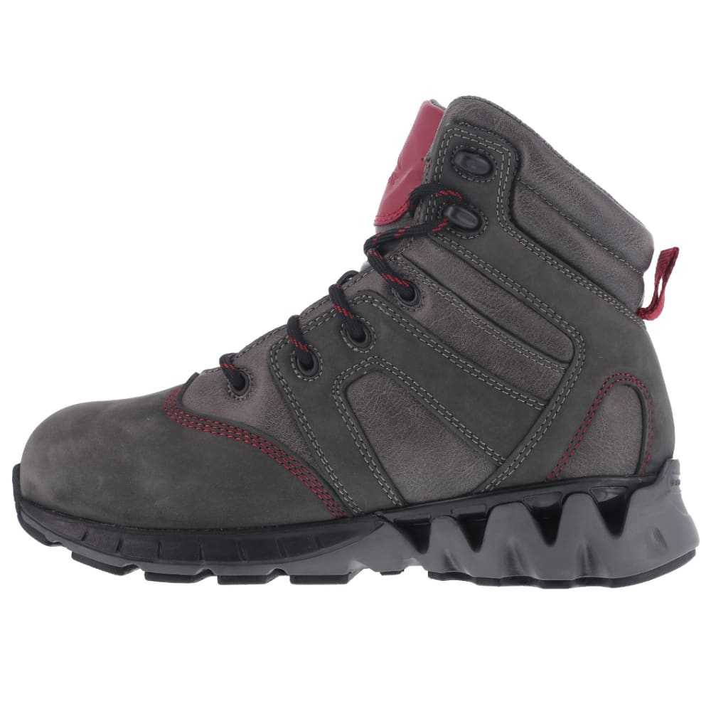 REEBOK WORK Women's Zigkick Carbon Toe Waterproof  Hiking Boots, Grey/ Fuchsia, Wide - GREY/FUCHSIA