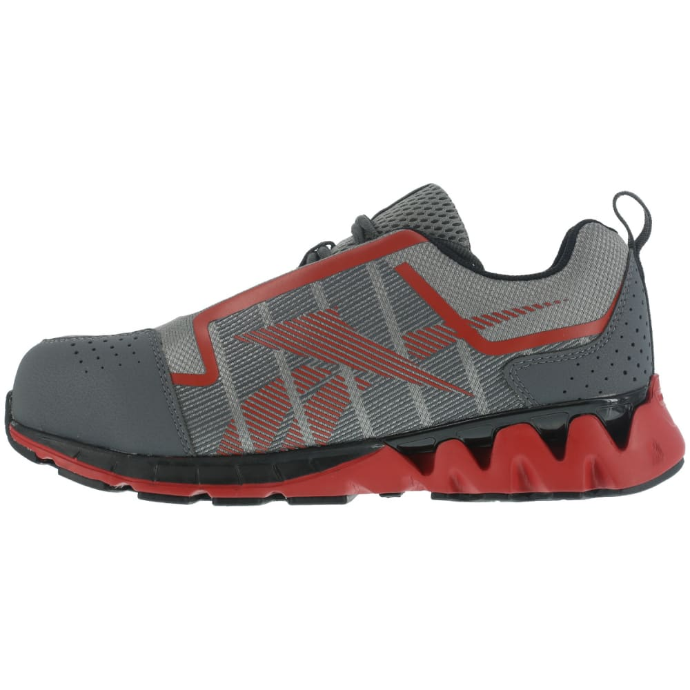 REEBOK WORK Men's Zigwild TR2 Work Carbon Toe Trail Runner Oxford Shoes, Grey/ Red, Wide - GREY/RED
