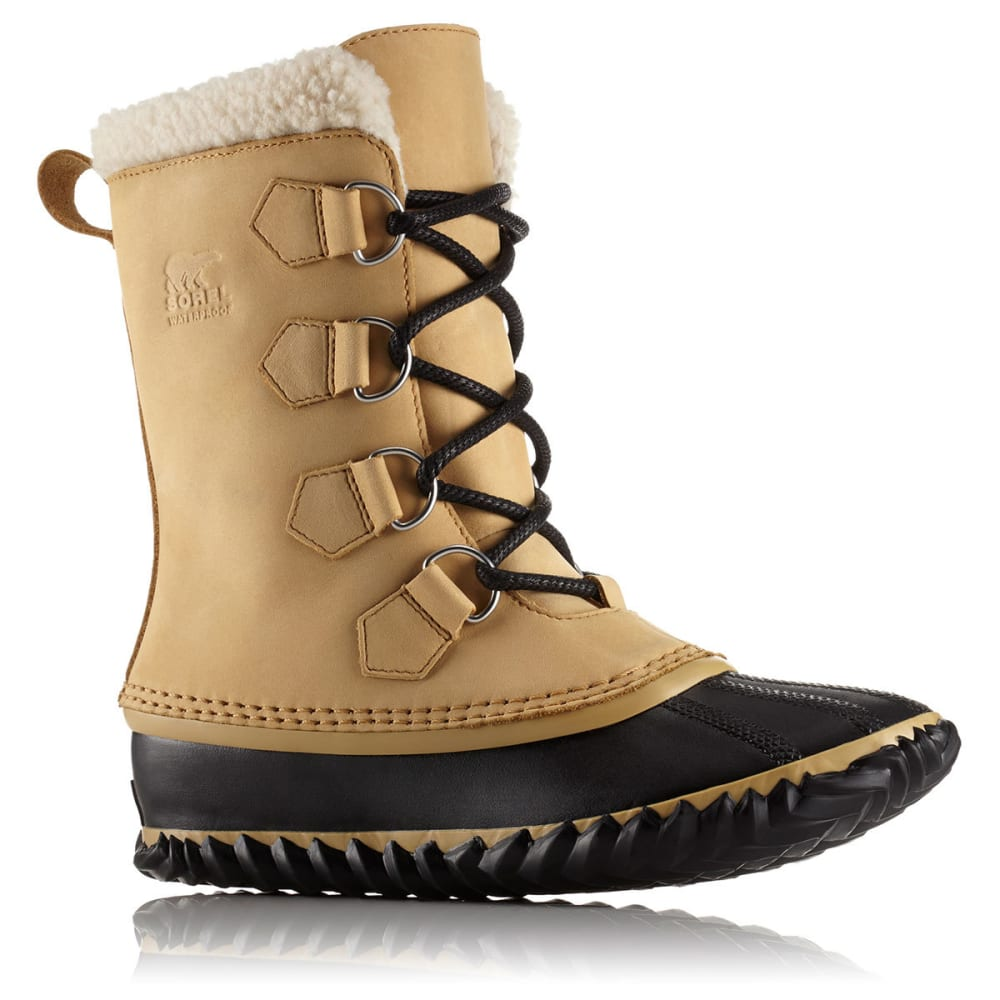 SOREL Women's Caribou Slim Waterproof Mid Duck Boots, Curry/Black - CURRY/BLACK