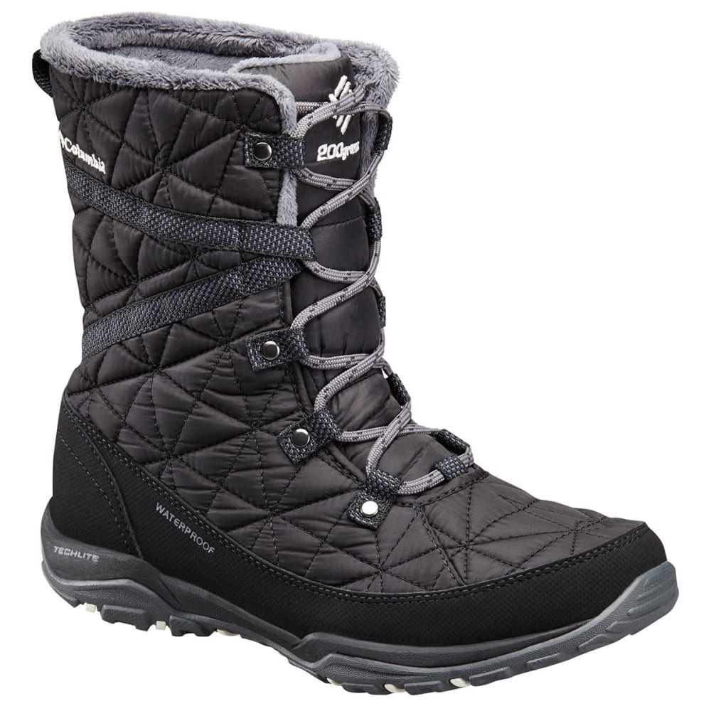 COLUMBIA Women's Loveland Mid Omni-Heat Waterproof Insulated Winter Boots, Black/Sea Salt - BLACK/SEA SALT