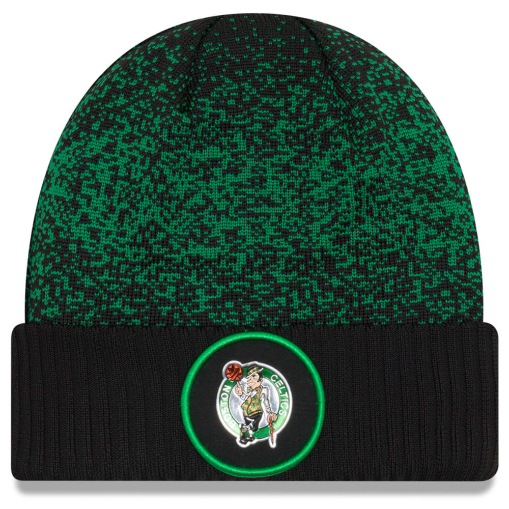 BOSTON CELTICS On-Court Reverse Cuffed Knit Beanie - BLACK