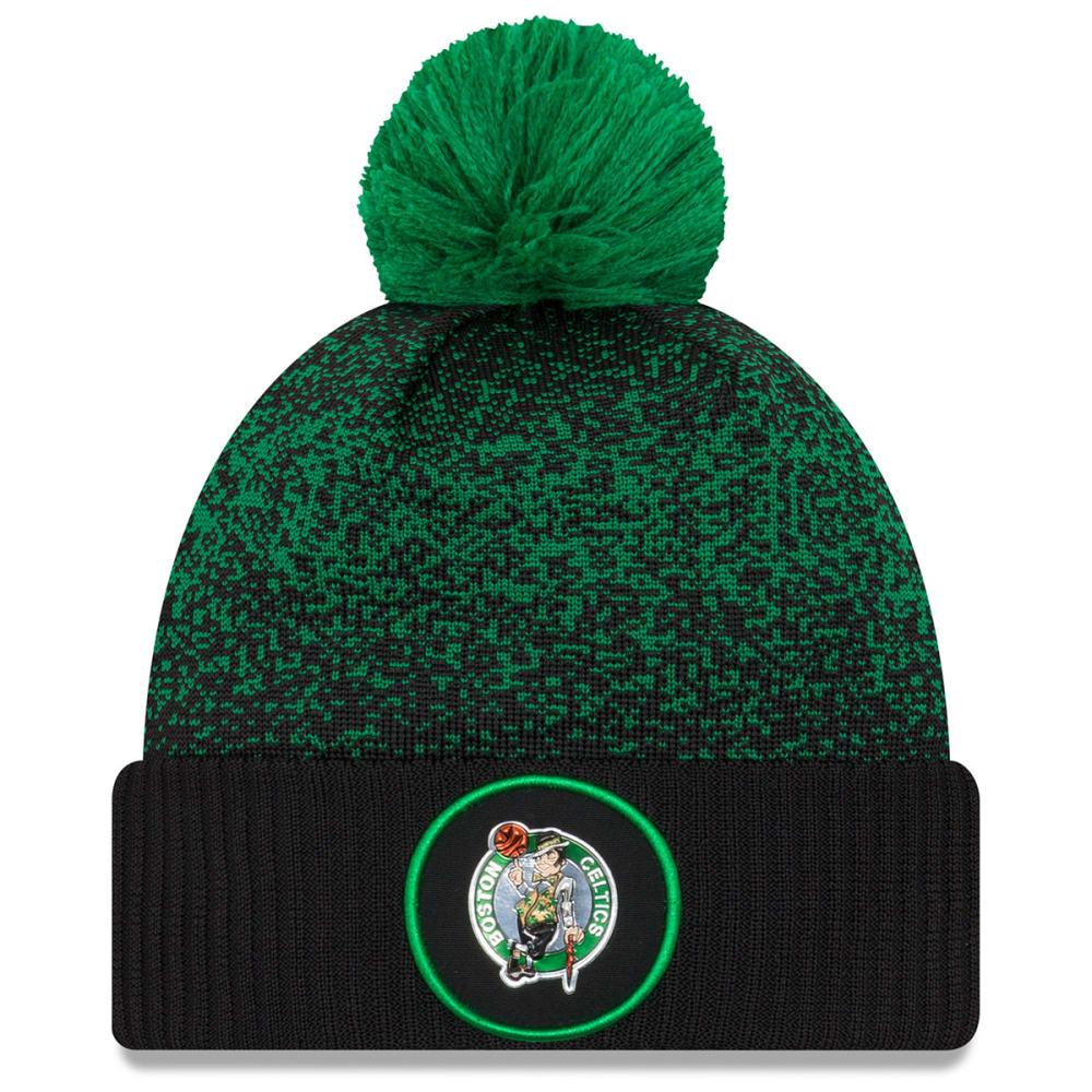 BOSTON CELTICS On-Court Reverse Cuffed Pom Knit Beanie - BLACK/GREEN