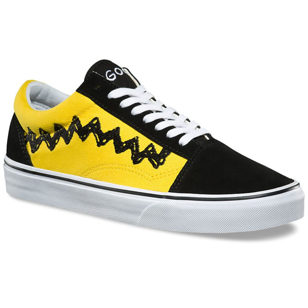 VANS Men's Peanuts Old Skool Skate Shoes, Charlie Brown/Black - BLACK