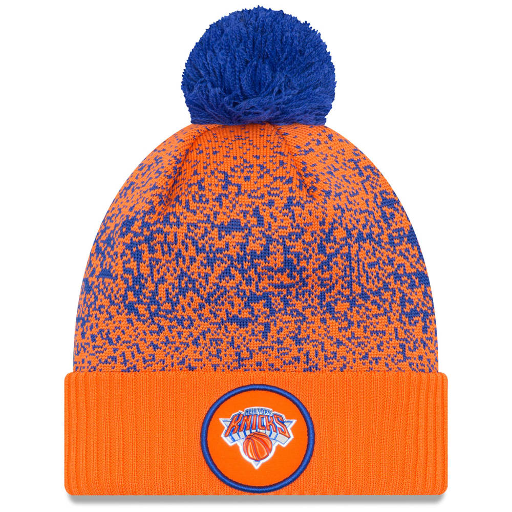 NEW YORK KNICKS On-Court Reverse Cuffed Pom Knit Beanie - ORANGE