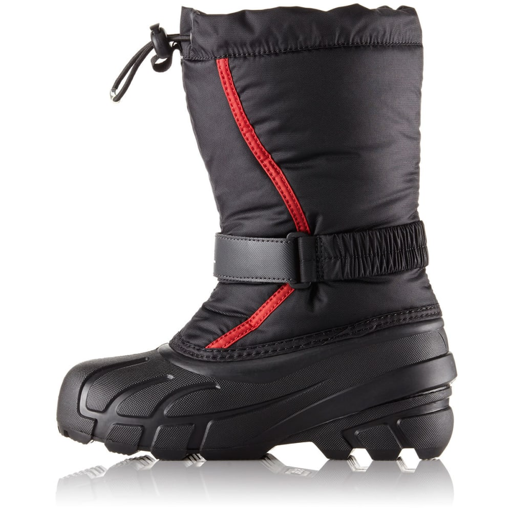 SOREL Boys' Flurry™ Waterproof Winter Boots, Black/Bright Red - BLACK