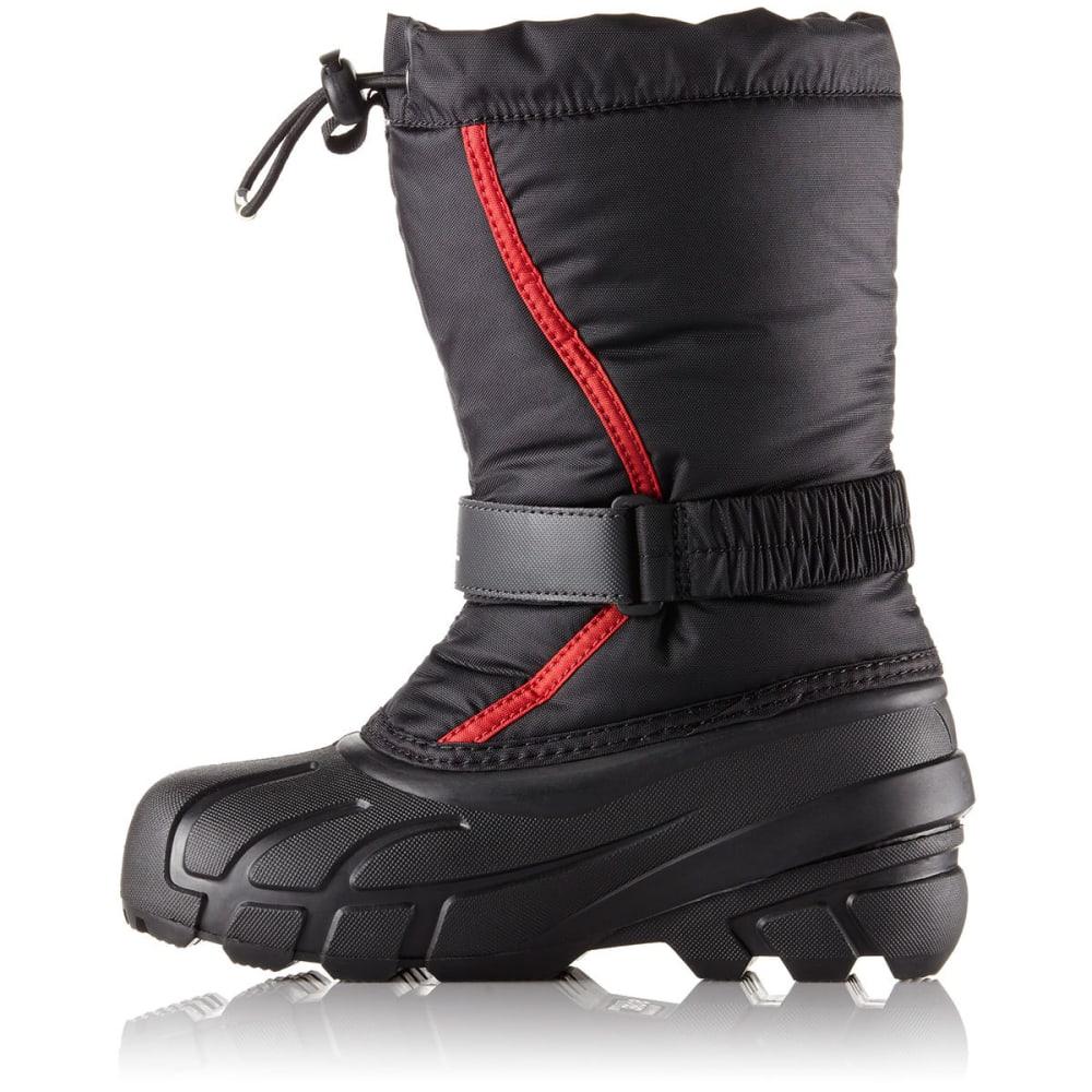 SOREL Boys' Flurry Waterproof Winter Boots, Black/Bright Red - BLACK-015
