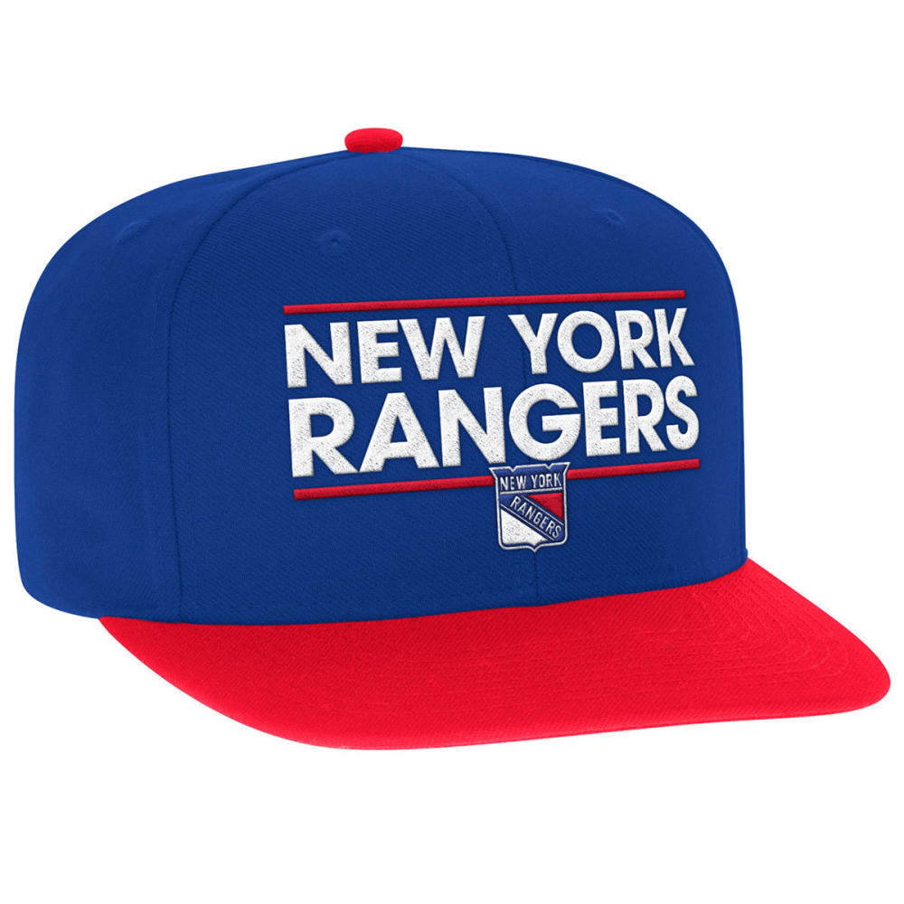 ADIDAS Men's New York Rangers Dassler Flat Brim Snapback Cap - ROYAL/RED