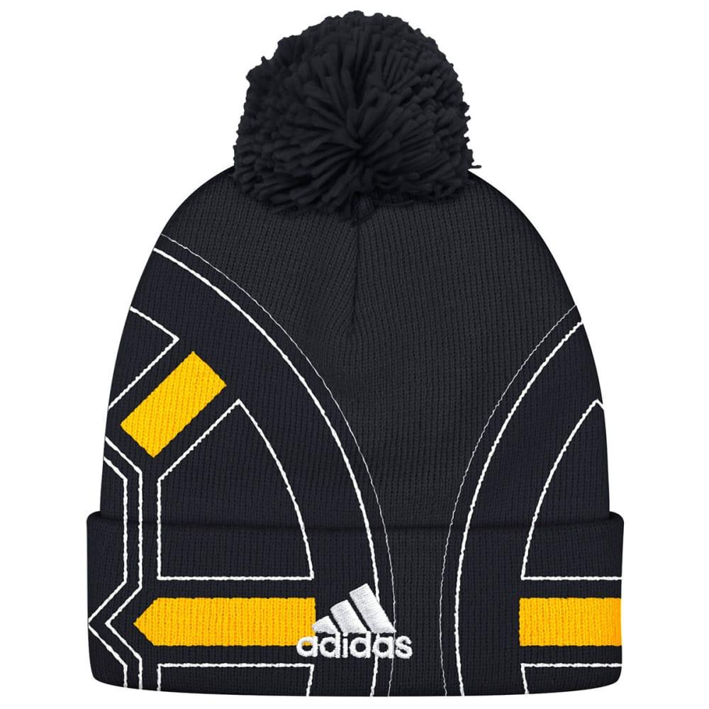 ADIDAS Men's Boston Bruins Big Logo Cuffed Pom Knit Beanie - BLACK