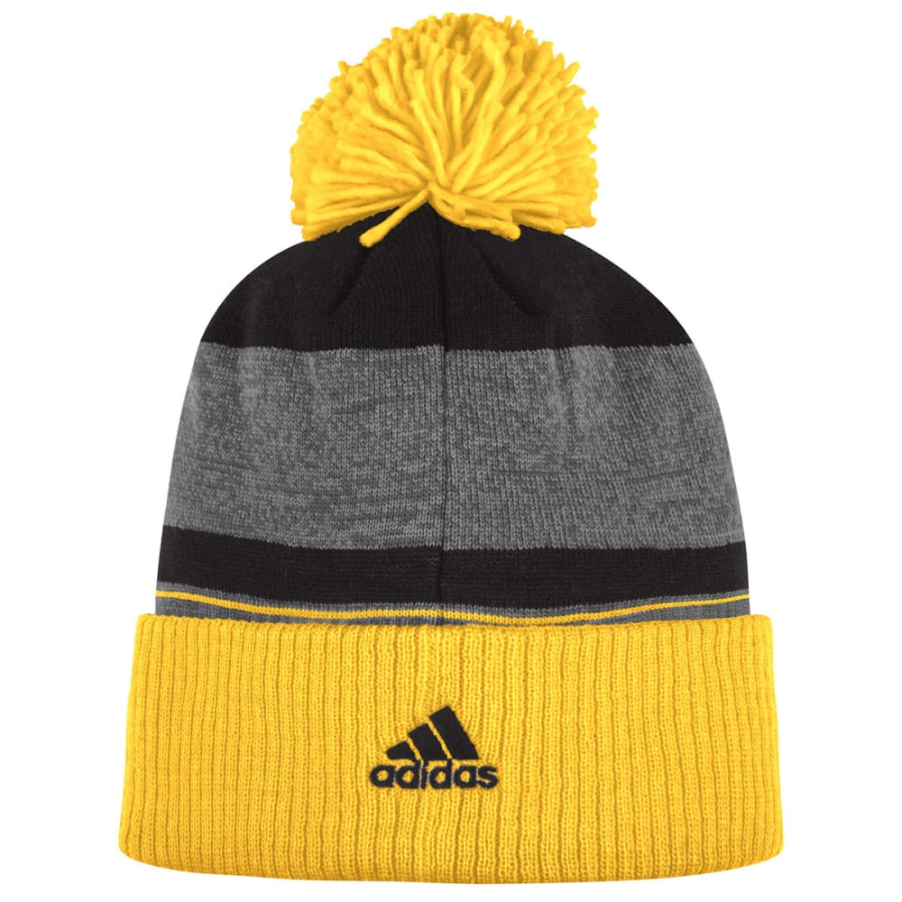 ADIDAS Men's Team Logo Striped Pom Cuffed Beanie - BLACK/GOLD