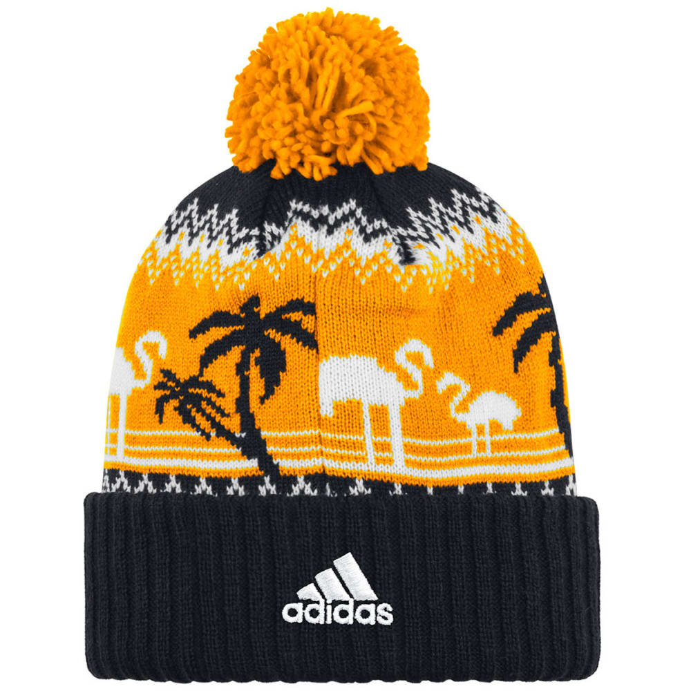BOSTON BRUINS Tropical Ugly Sweater Pom Knit Beanie - GOLD/BLACK