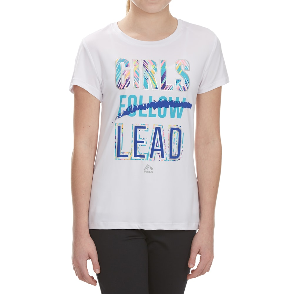 "RBX Girls' ""Girls Lead"" Short-Sleeve Tee - WHITE"