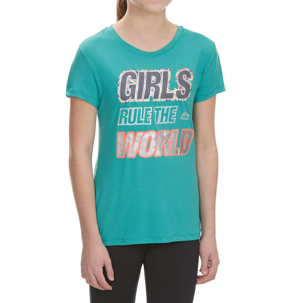 "RBX Girls' ""Girls Rule the World"" Short-Sleeve Tee - JADE SPRINKLE"