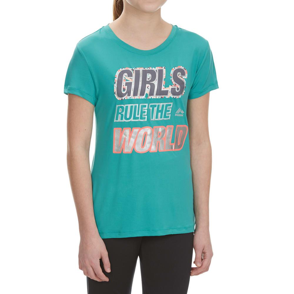 """RBX Girls' """"Girls Rule the World"""" Short-Sleeve Tee - JADE SPRINKLE"""