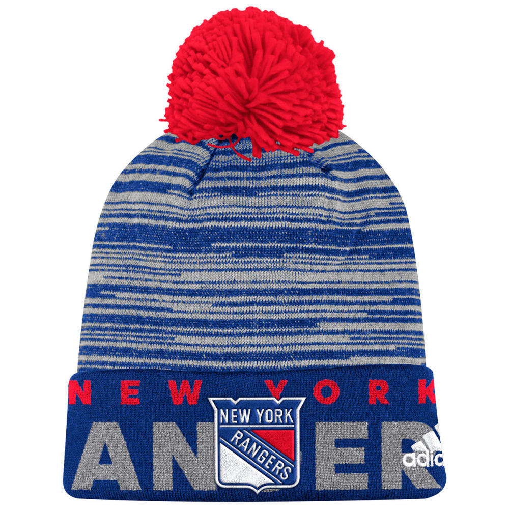 NEW YORK RANGERS On-Ice Cuffed Pom Knit Beanie - ROYAL BLUE