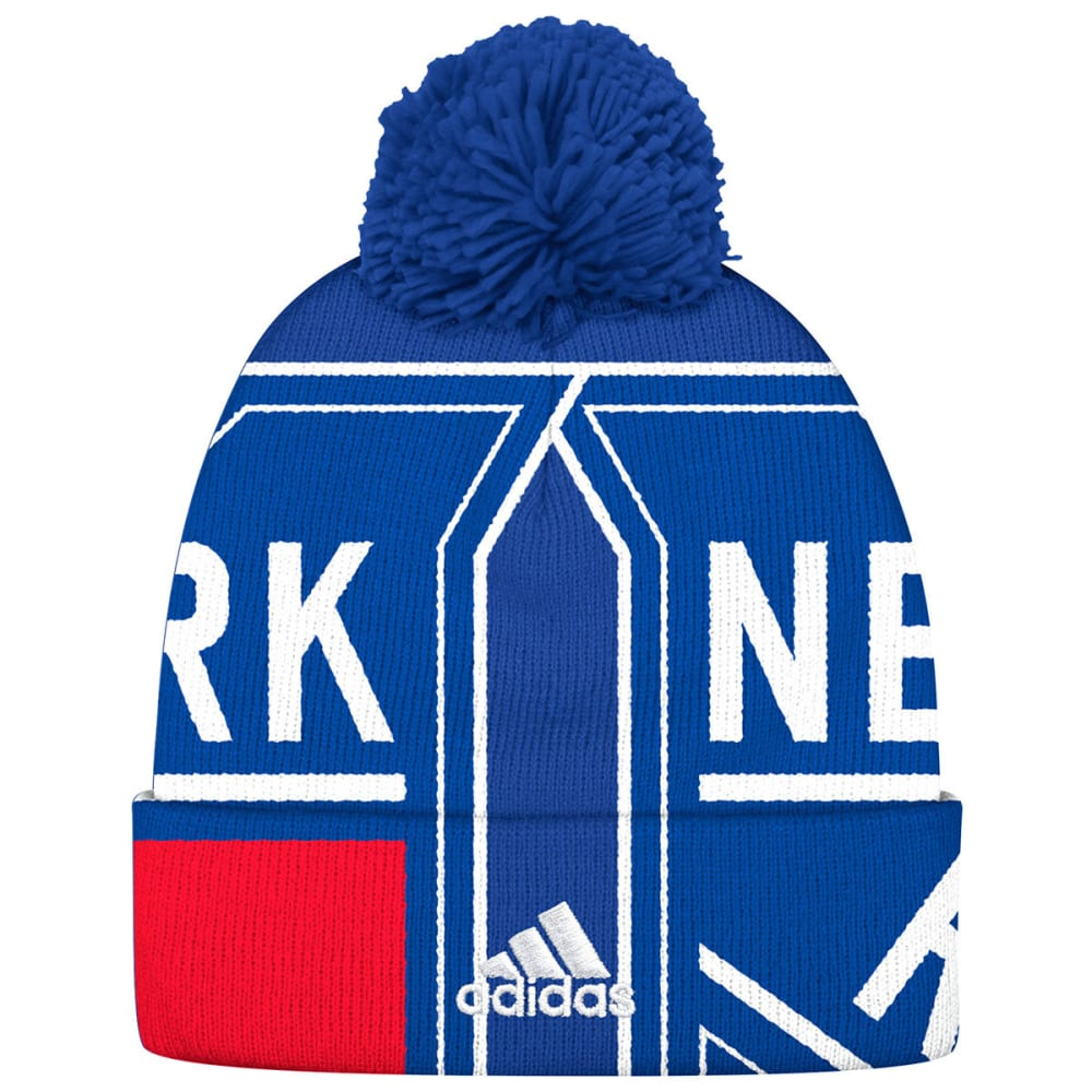 ADIDAS Men's New York Rangers Big Logo Cuffed Pom Knit Beanie - ROYAL BLUE