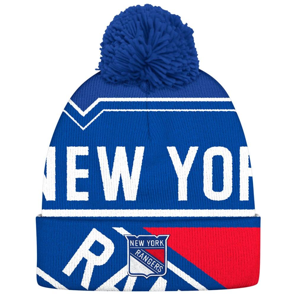 ADIDAS Men's New York Rangers Big Logo Cuffed Pom Knit Beanie - ROYAL BLUE