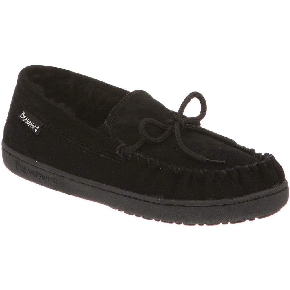 BEARPAW Women's Mindy Moccasin Slippers, Black - BLACK