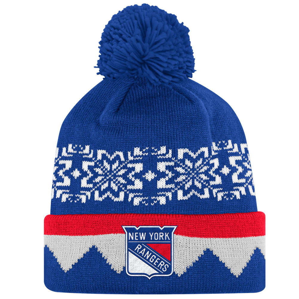 NEW YORK RANGERS Snowflake Sweater Pom Beanie - ROYAL BLUE