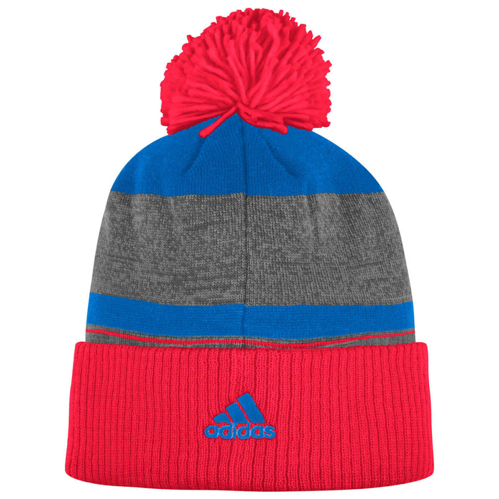 NEW YORK RANGERS Cuffed Knit Pom Beanie - ROYAL/RED