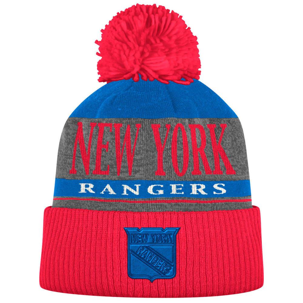 NEW YORK RANGERS Cuffed Knit Pom Beanie - ROYAL/RED