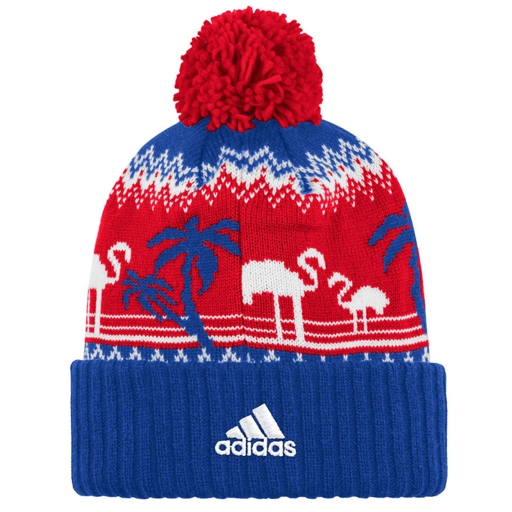 ADIDAS Men's New York Rangers Ugly Sweater Cuffed Pom Beanie - RED/ROYAL