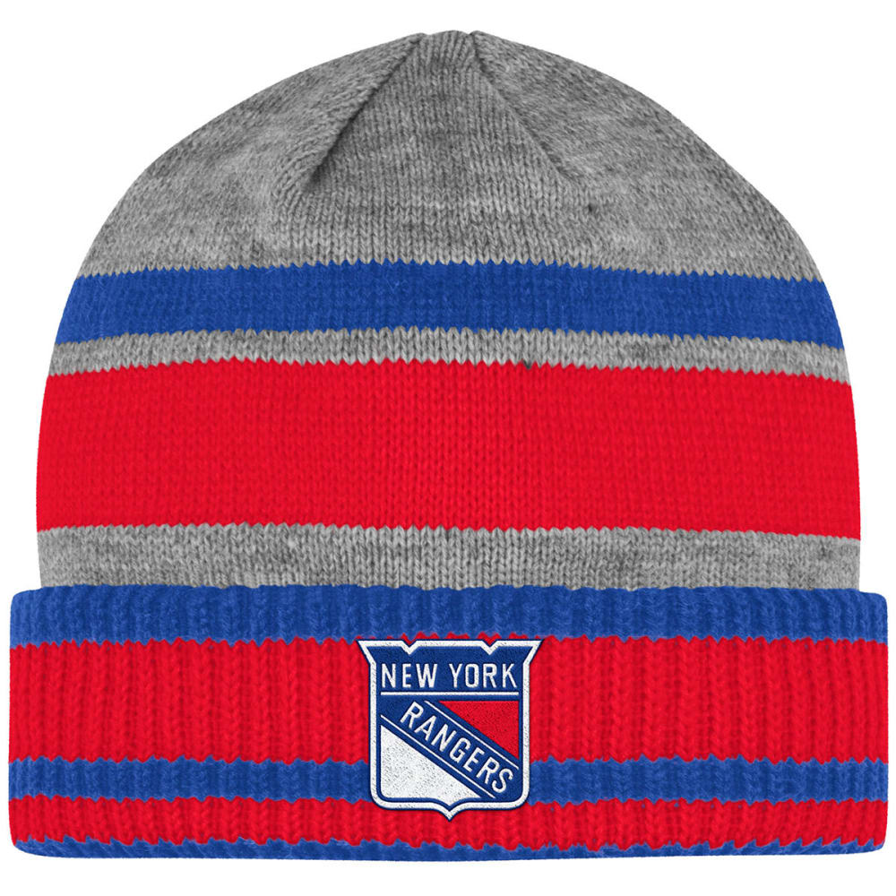NEW YORK RANGERS Cuffed Stripe Beanie - GREY