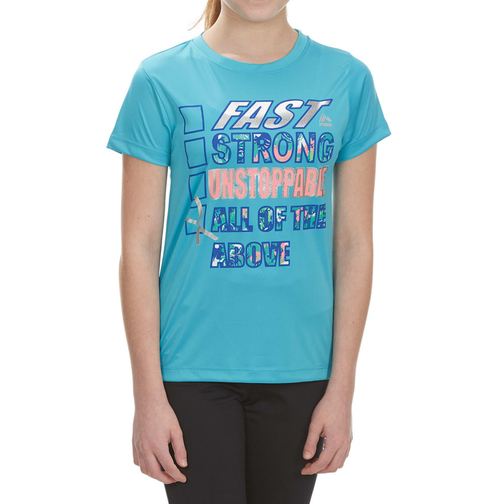 """RBX Girls' """"Fast, Strong, Unstoppable"""" Short-Sleeve Tee - AQUA SPRING"""