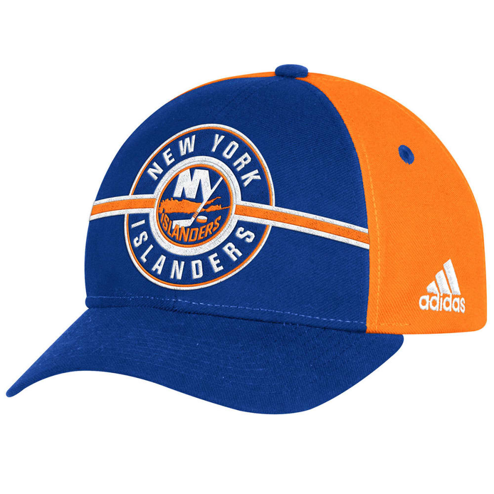 ADIDAS Men's New York Islanders Circle Logo Structured Adjustable Cap - ROYAL/ORANGE
