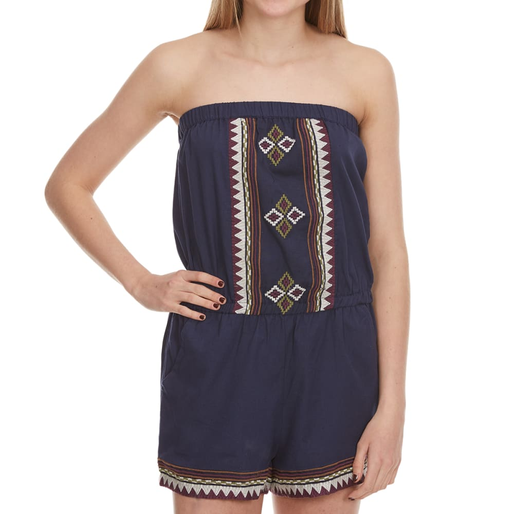 ANGIE Juniors' Embroidered Tube Romper - NAVY