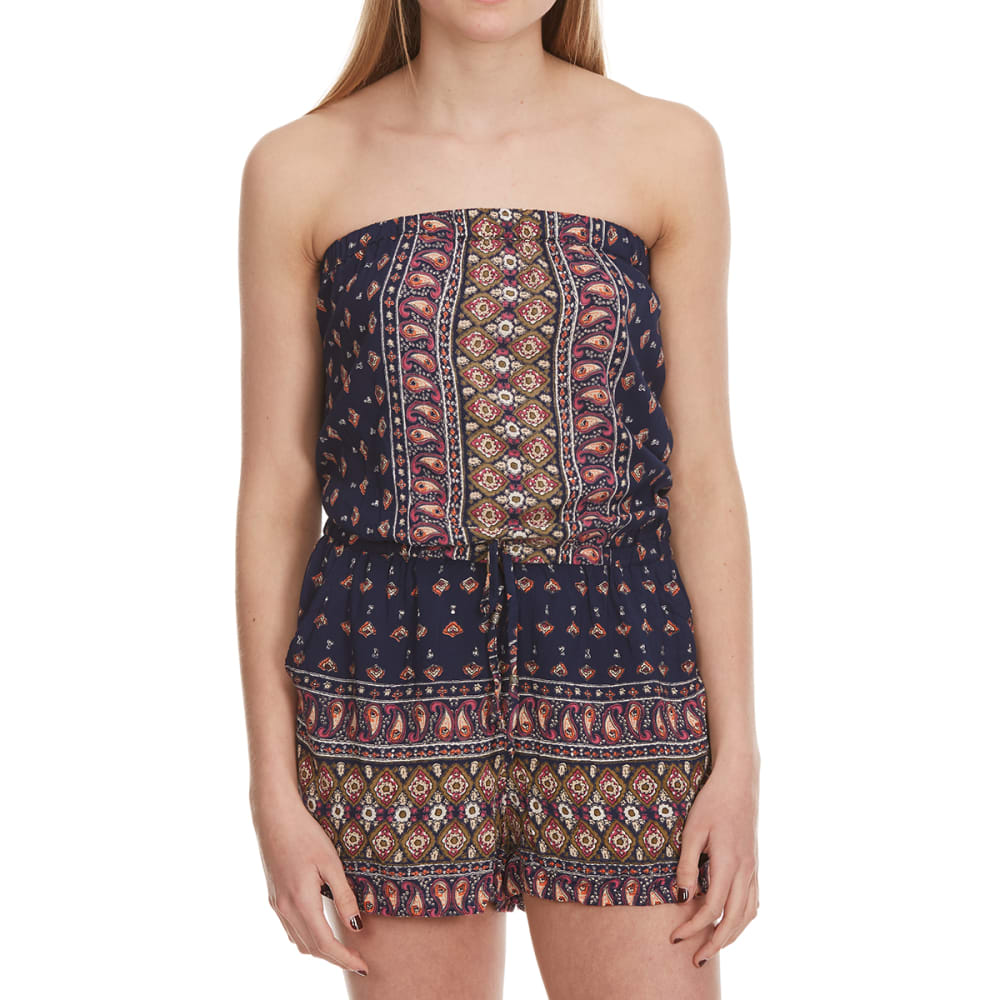 Angie Juniors'  Printed Tube Romper - Blue, S