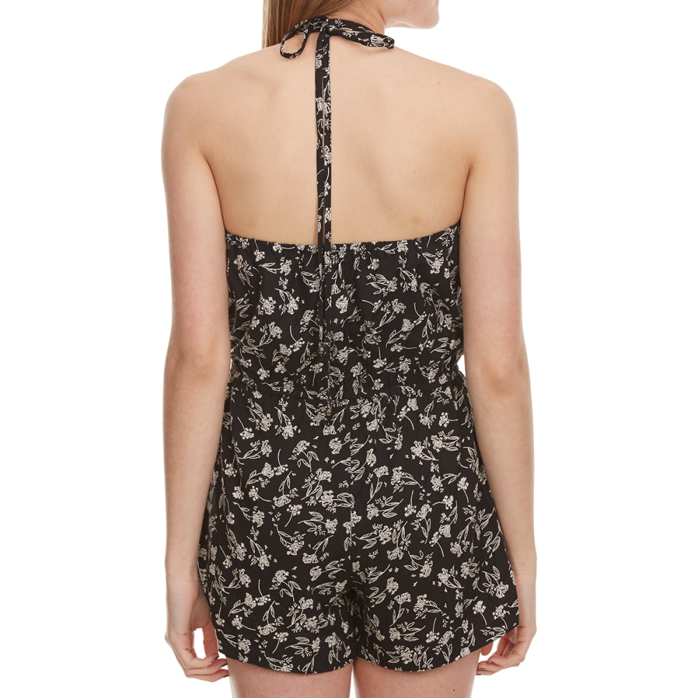 ANGIE Juniors' Printed Halter Neck Romper - BLACK