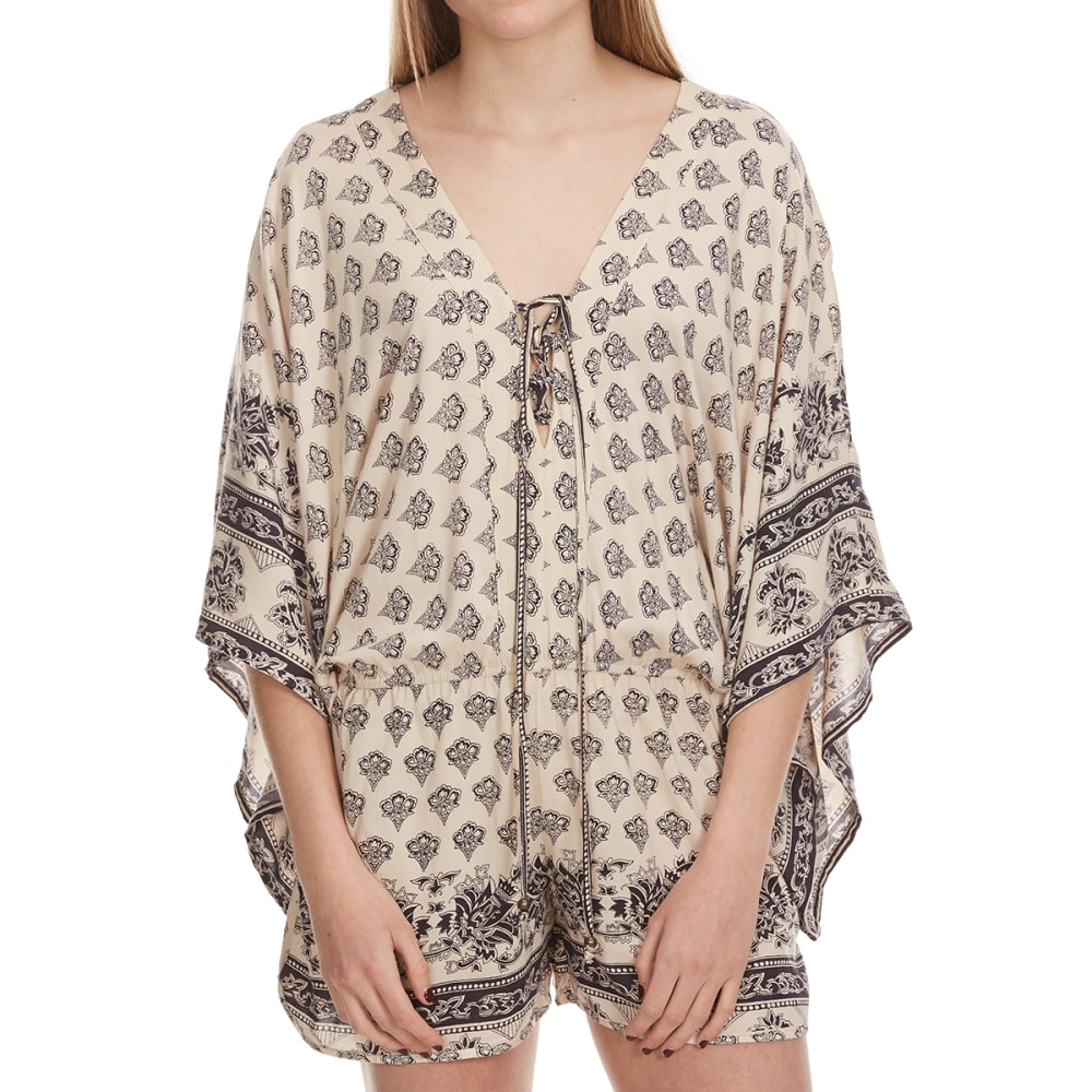 ANGIE Juniors' Printed ¾-Sleeve Romper with Border Print Hem - SAND
