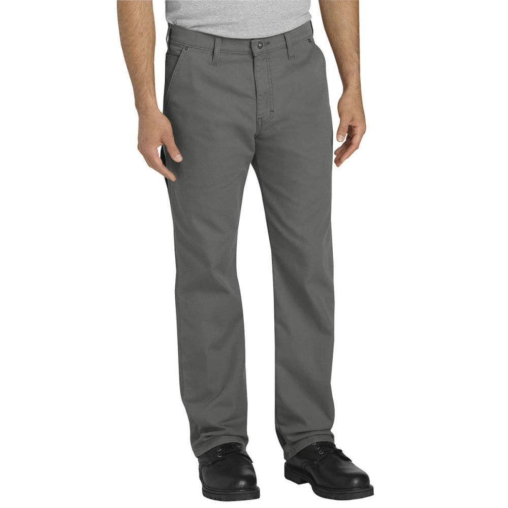 DICKIES Men's FLEX Regular Fit Straight Leg Tough Max Duck Carpenter Pants - SSL SLATE GRAY