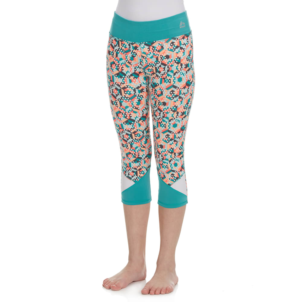 RBX Girls' Multi-Colored Stripe Dot Color-Blocked Capri Pants - JADE SPRINKL/MELON