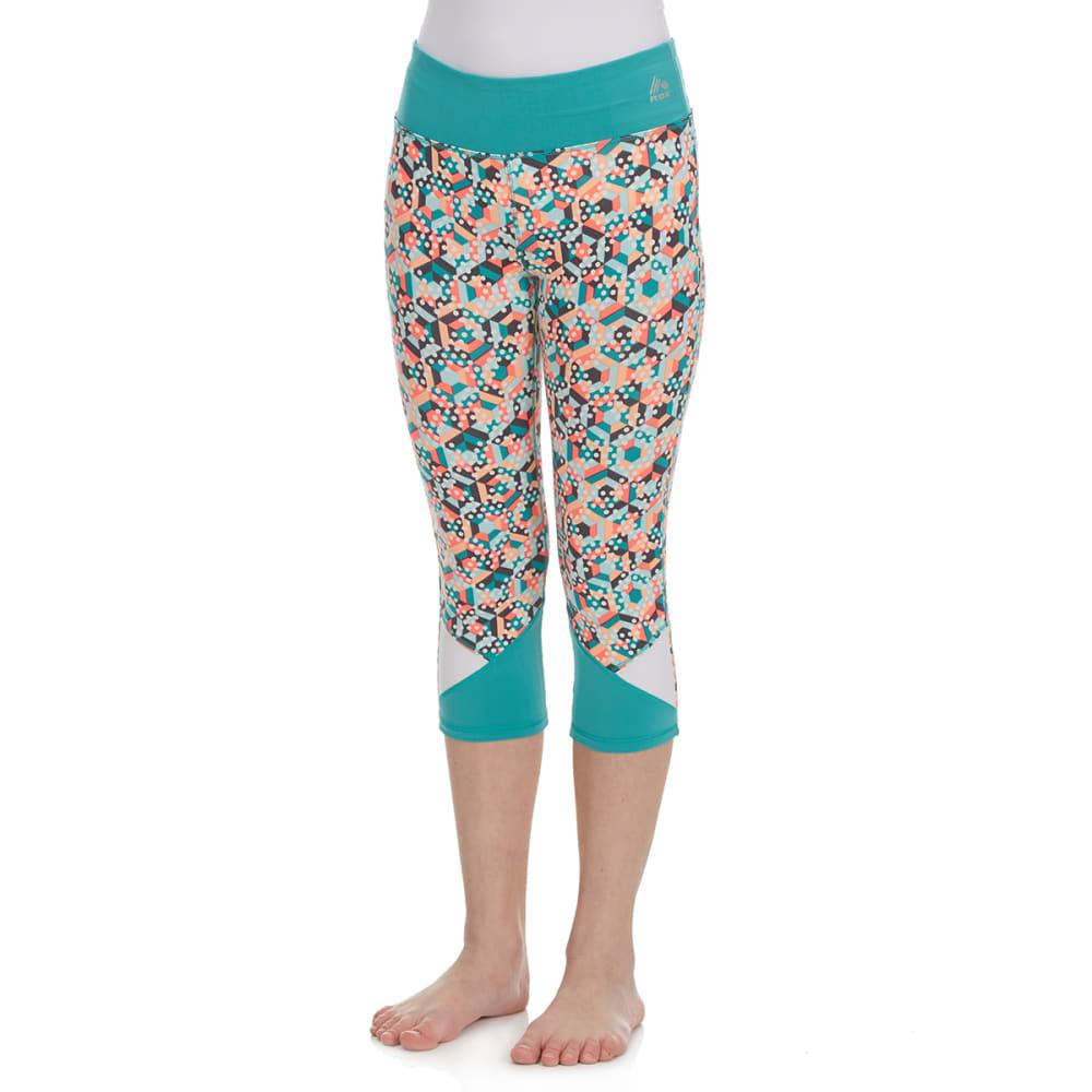 RBX Girls' Multi-Colored Stripe Dot Color-Blocked Capri Pants - JADE SPRINKL/MELON