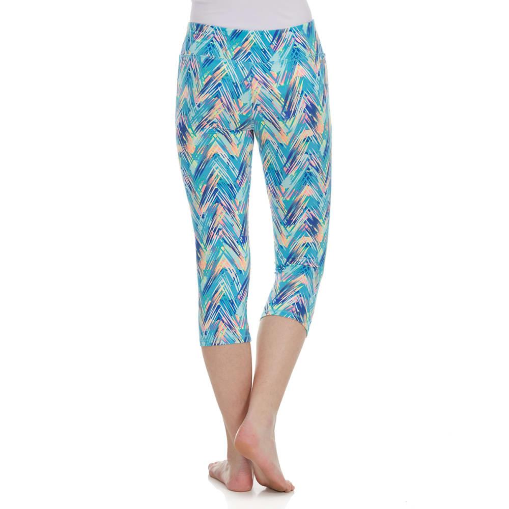 RBX Girls' Multi-Colored Chevron Capri Pants - AQUA SPRING MULTI