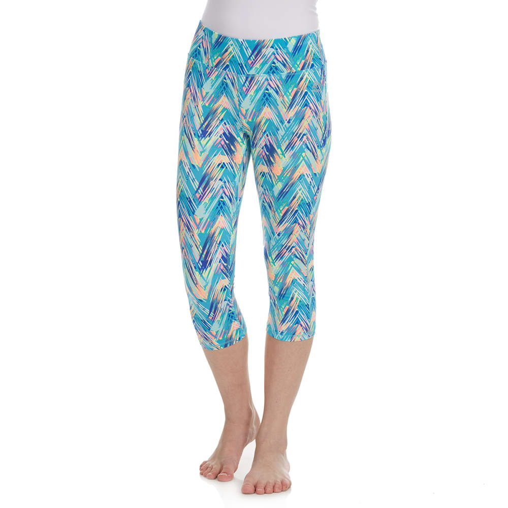 RBX Girls' Multi-Colored Chevron Capri Pants - AQUA SPRING MULTI