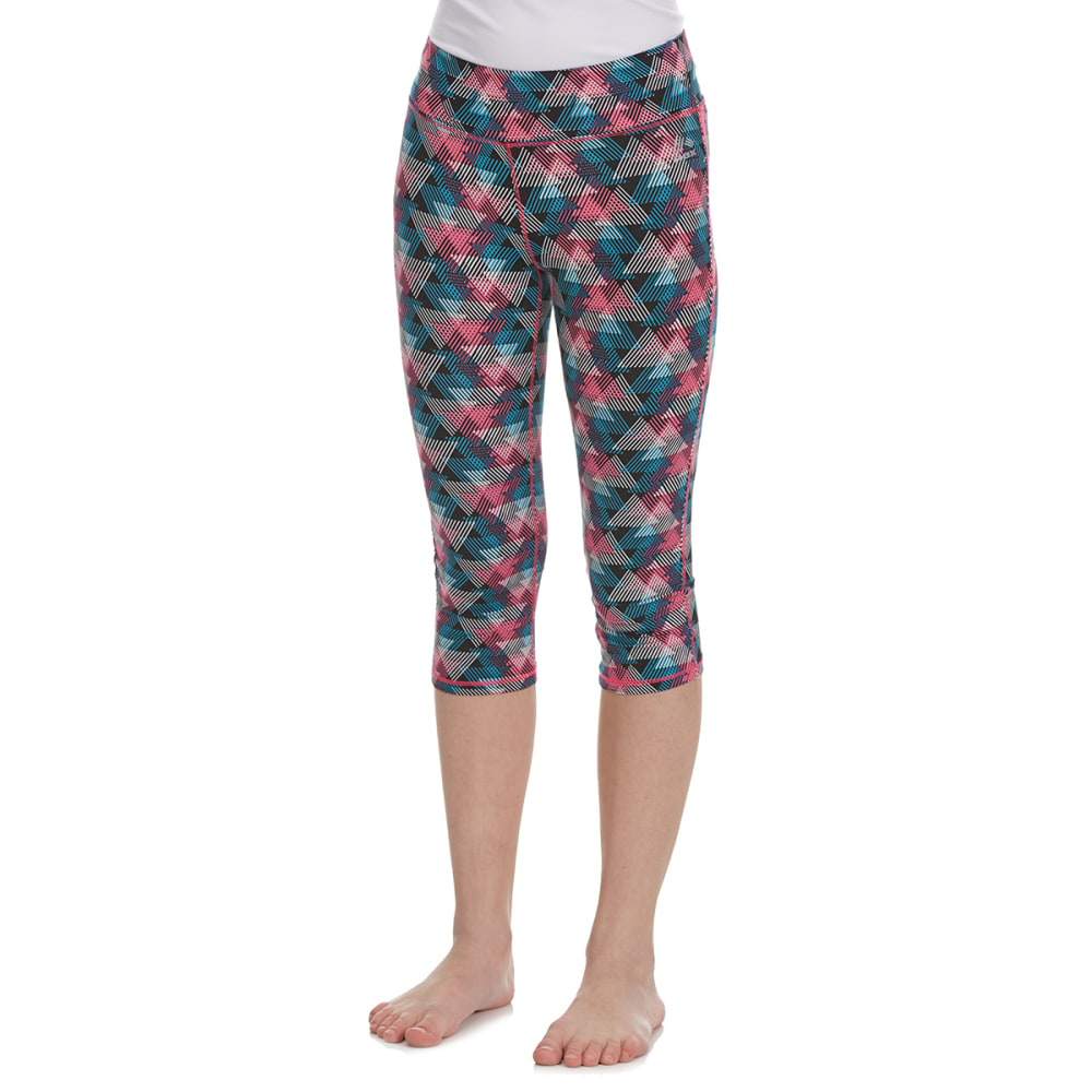 RBX Girls' Linear Triangle Capri Pants - NEON KO PINK MULTI