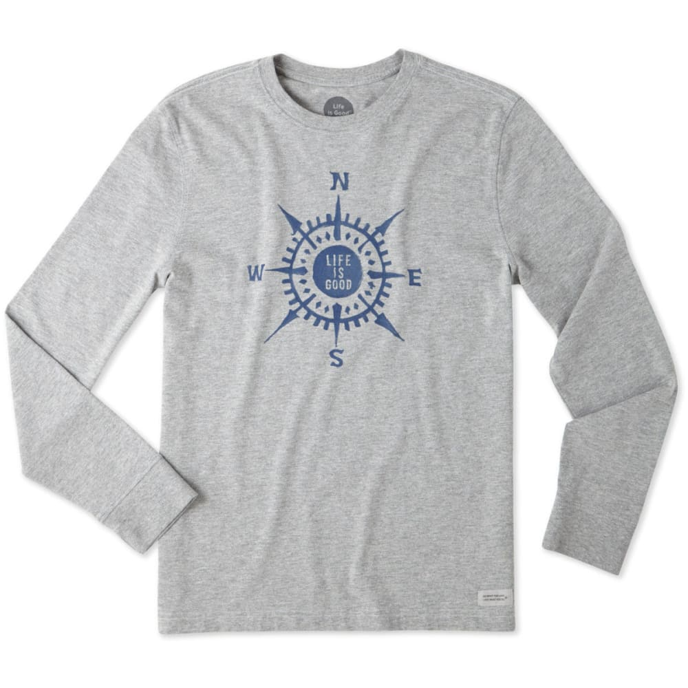 LIFE IS GOOD Men's Compass Painted Long Sleeve Crusher tee - HEATHER GRAY