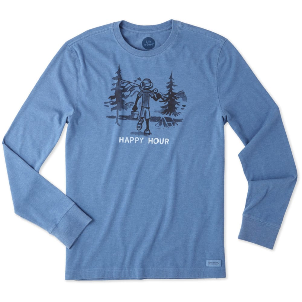 LIFE IS GOOD Men's Happy Hour Fish Long Sleeve Crusher Tee - HEATHER VINTAGE BLUE