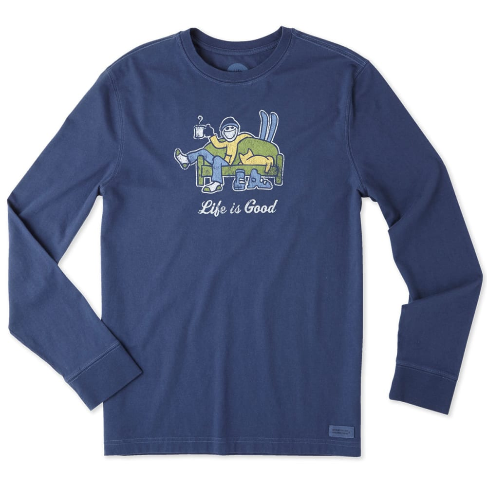 LIFE IS GOOD Men's Apres Ski Long Sleeve Crusher Tee - DARKEST BLUE