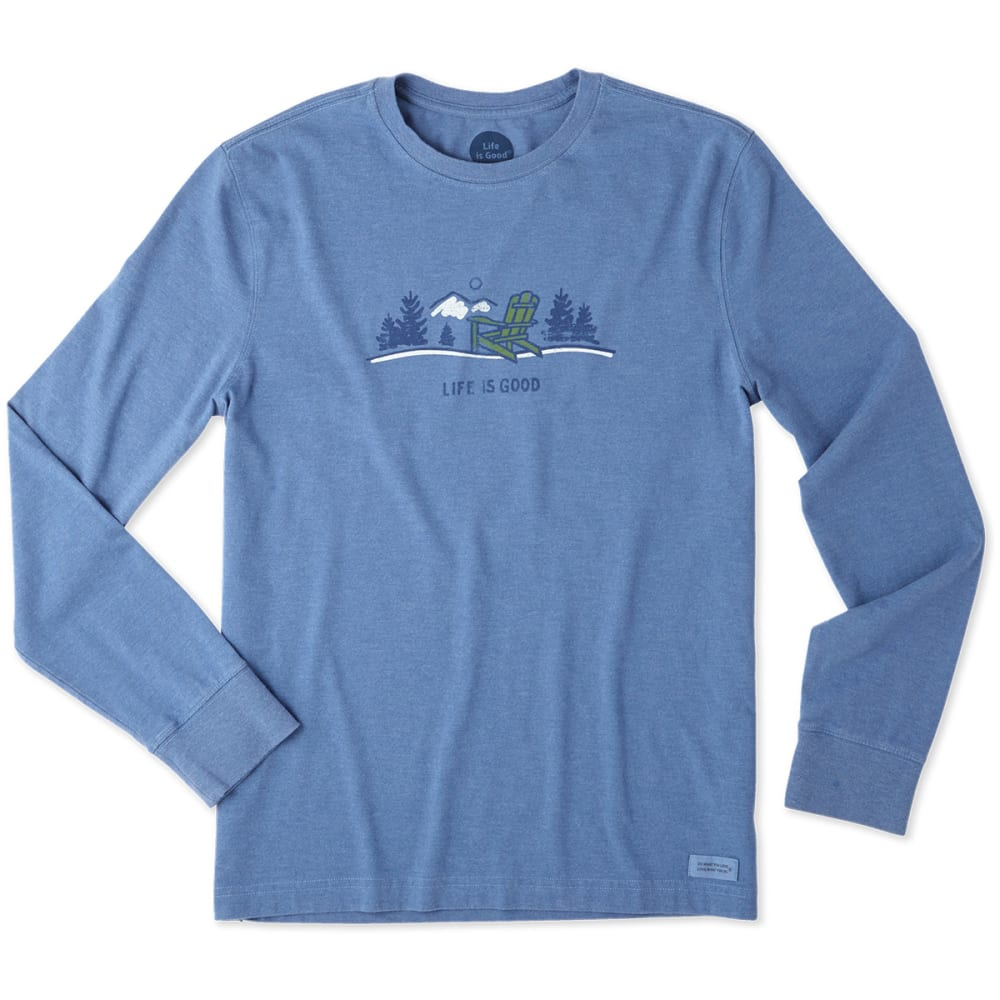 LIFE IS GOOD Men's Adirondack Vista Long-Sleeve Crusher Tee - HEATHER VINTAGE BLUE