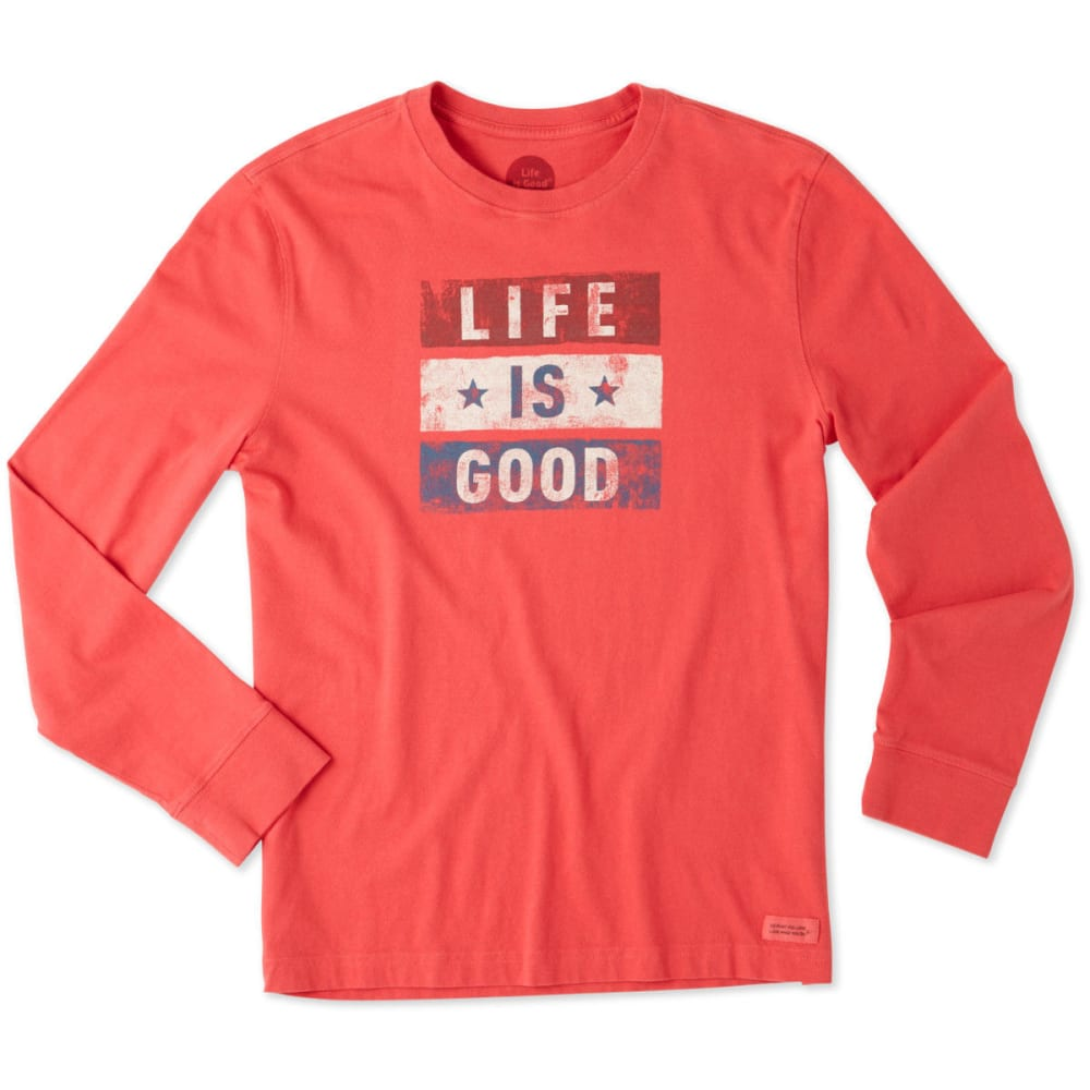 LIFE IS GOOD Men's Red White Good Long Sleeve Crusher Tee - AMERICANA RED