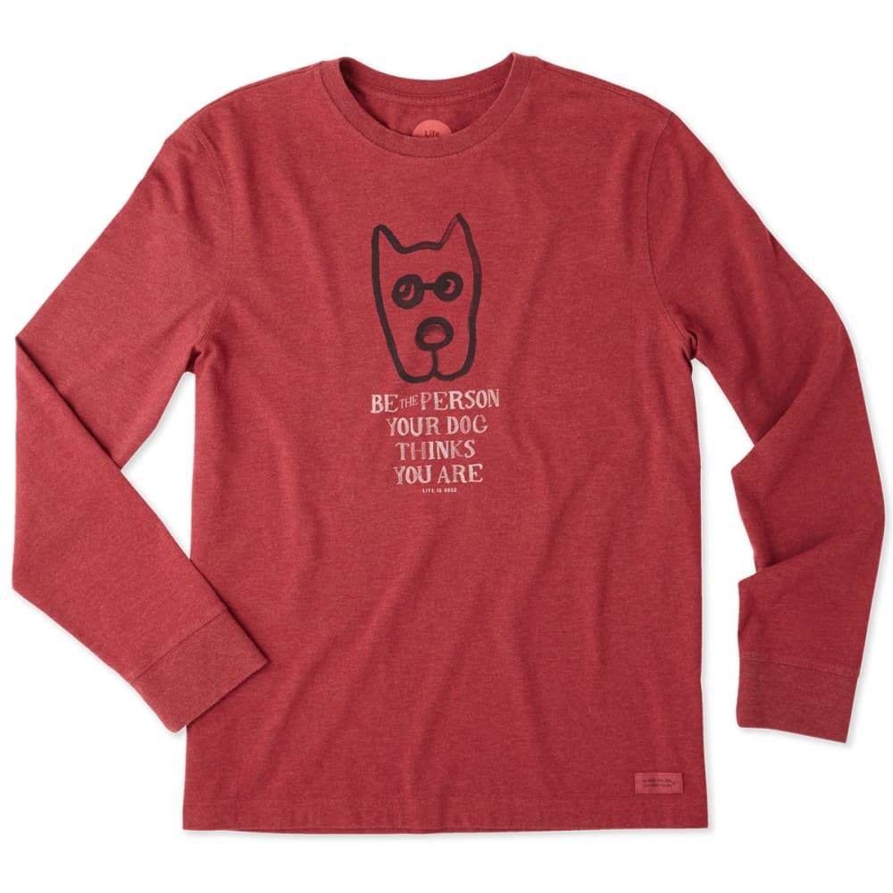 LIFE IS GOOD Men's Rocket Message Long Sleeve Crusher Tee - HEATHERCRANBERRY RED