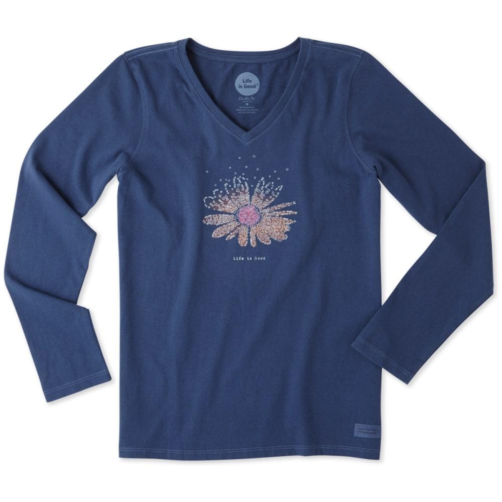 LIFE IS GOOD Women's Daisy Hearts Long Sleeve Crusher Tee - DARKEST BLUE