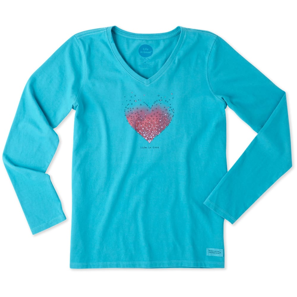 LIFE IS GOOD Women's Tiny Hearts Long Sleeve Crusher Vee Tee - COOL TURQUOISE