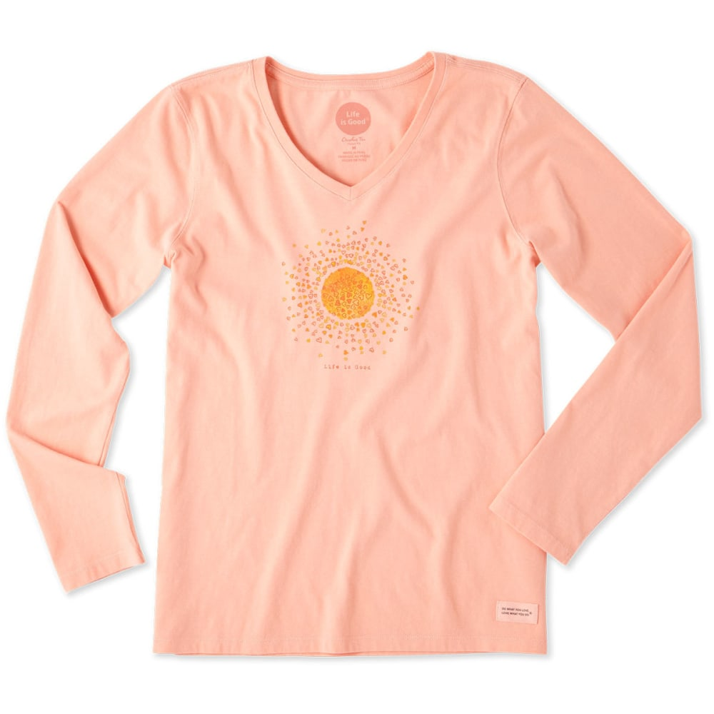 LIFE IS GOOD Women's Sun Hearts Crusher V-Neck Long-Sleeve Tee - CHALKY PEACH