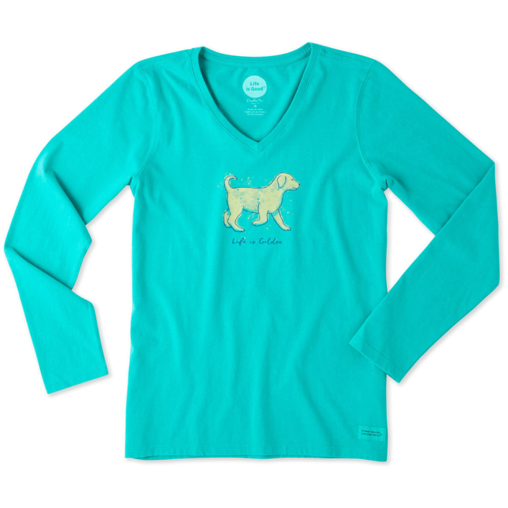 LIFE IS GOOD Women's Life Is Golden Long Sleeve Crusher Tee - BRIGHT TEAL